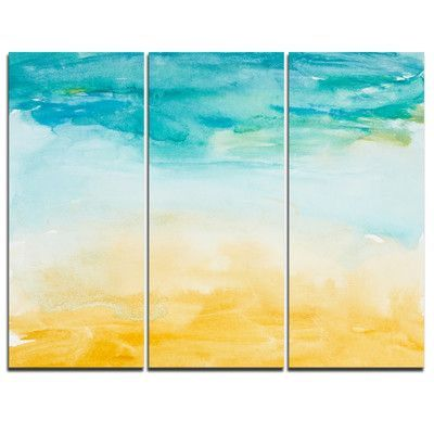 DesignArt Soil and Sky Strokes - 3 Piece Graphic Art on Wrapped ...
