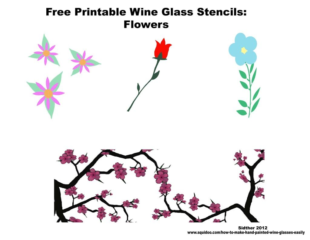 Freeprintablestencilsflowersforpaintingyourownwineglass Jpg Photo This Photo Was Uploaded By Sidther F Painted Wine Glasses Glass Stencil Painted Wine Glass