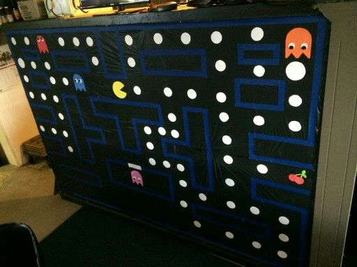 80 S Decor Pacman Wall Back Drop Black Table Cloths Outline Of Game Blue Painters Tape Pacman Amp Ghost Foam St White Poster Board Sticky Paper Pacman Ghost