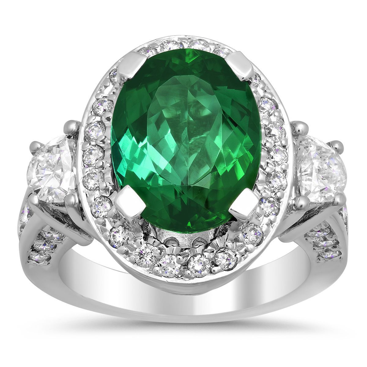 Artistry Collections 14k White Gold Tourmaline and 2ct TDW Diamond Ring