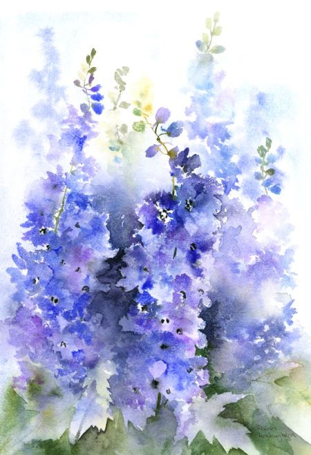 Rachel Mcnaughton Delphiniums Flower Painting Floral