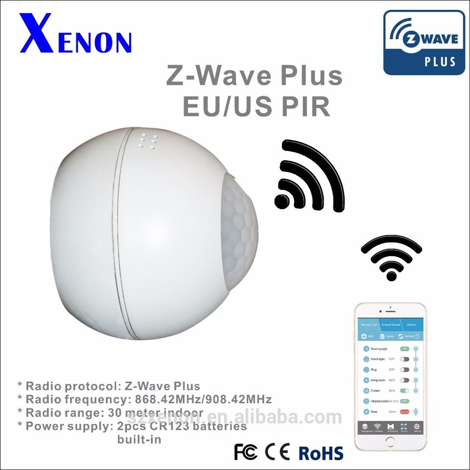 Xenon Smart Pir Motion Sensor Z Wave Security Products Wireless Remote Control Pir Motion Sensor S Home Automation Home Automation System Smart Home Automation