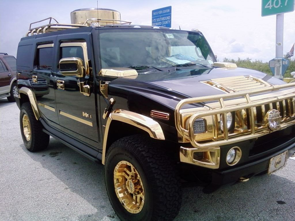 STRANGE VEHICLES - AMAZING GOLD TRIMMED HUMMER - WOW ... | accessories for h2 hummer