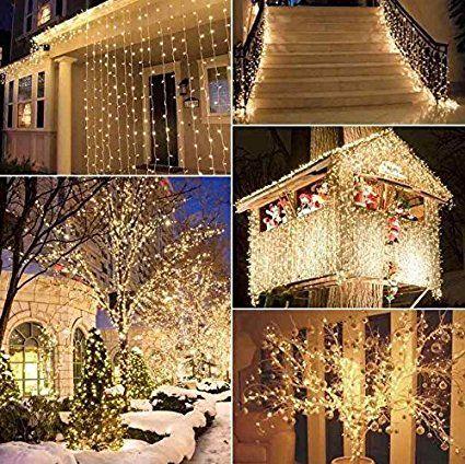 amazoncom naisidier window curtain string lights starry fairy icicle lights 98ft - Christmas Window Decorations Amazon