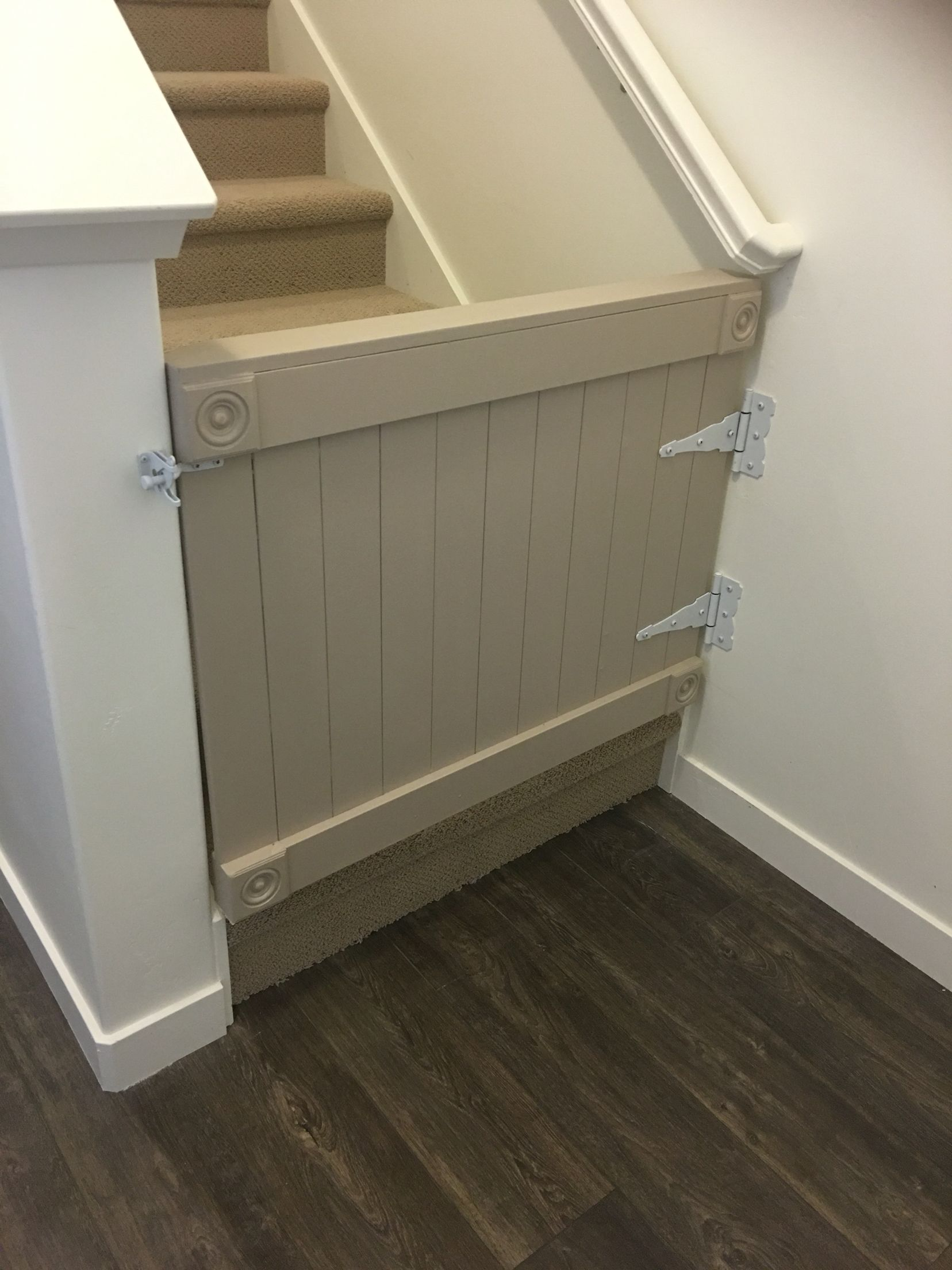 Diy Baby Gate Made From Mdf And Added Decorative Corners Hard Ware