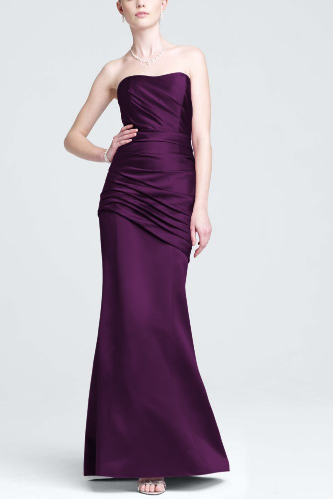 Long Strapless Satin Dress with Side Ruching Style F15142   Satin ...