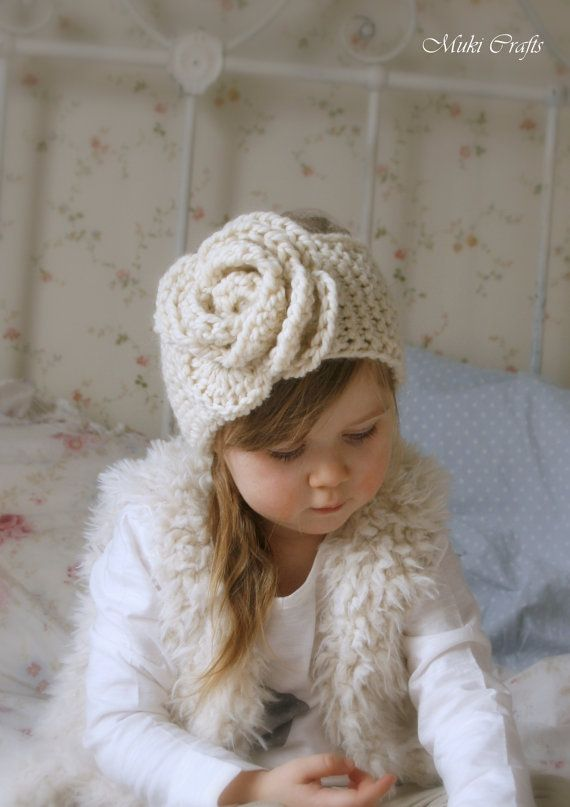 KNITTING PATTERN simple headband Nelly with crochet flower ( baby, child, woman sizes) #crochetedflowers
