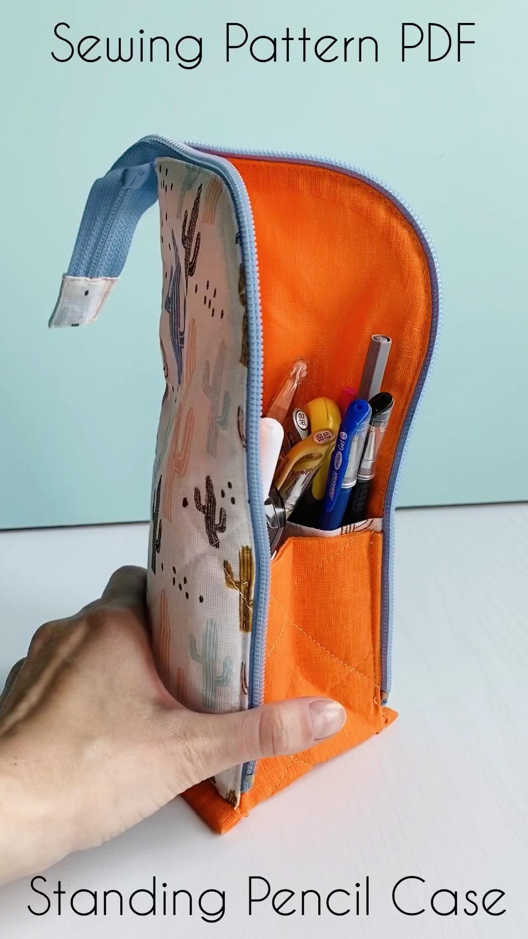 Standing pencil case PATTERN, Pencil holder, Zipper pencil case DIY, Cute pen pouch, zipper