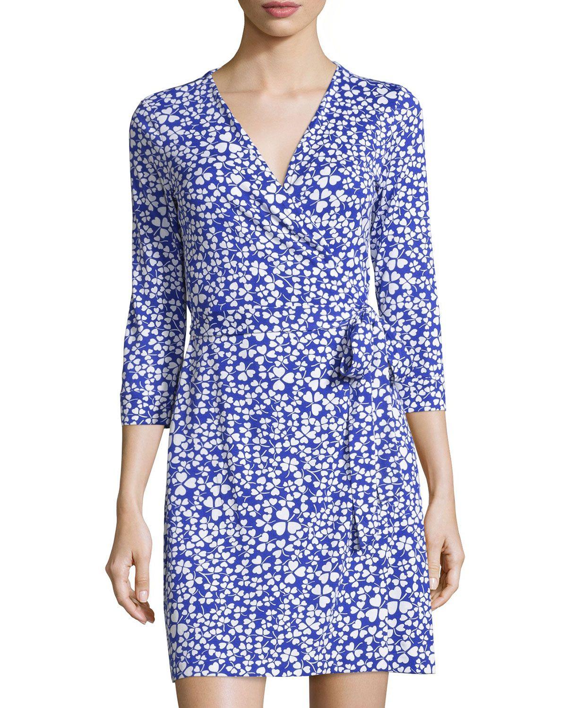 Diane von Furstenberg New Julian Two Mini Wrap Dress, Clover Blue, Women's, Size: 12, Clover Blu