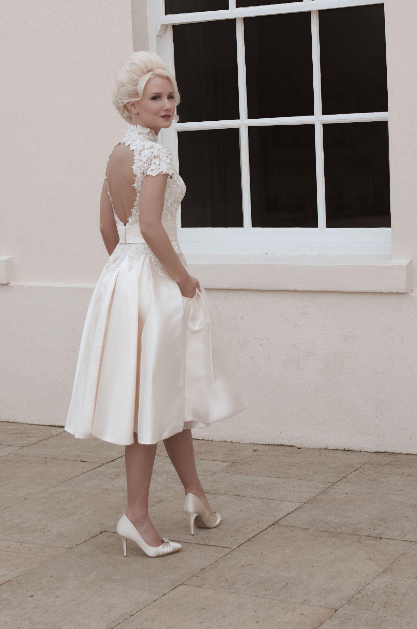 Nancy A Grace Kelly inspired short tea length wedding