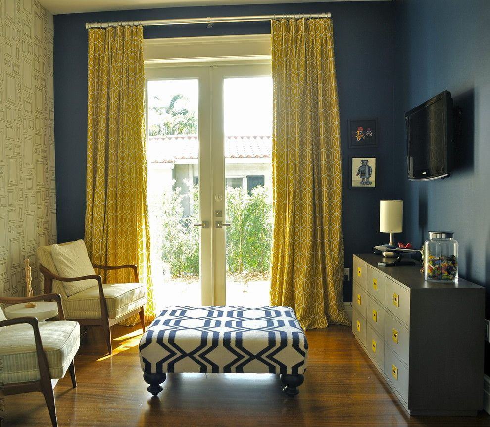 Attractive Mustard Curtains With Blue Dark Walls In Purple Living Room Idea