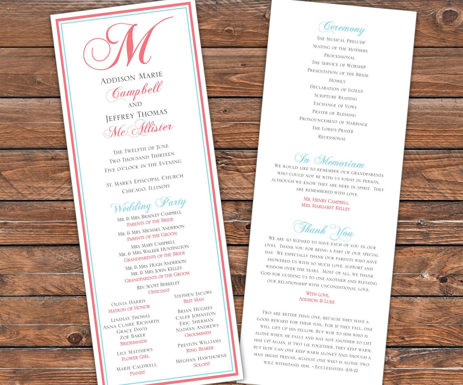 Free For Wedding Program Templates