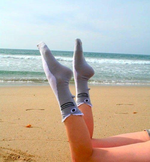 Beach socks! Shark socks! Sharcks? #fashion #accessories #design #kitsch #funny #cartoon #animal