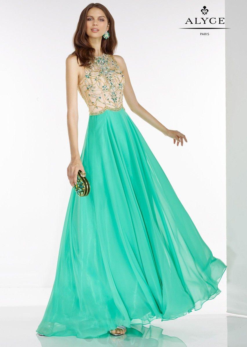 Alyce 6526 Absinthe Chiffon Open Back A-Line Prom Dress