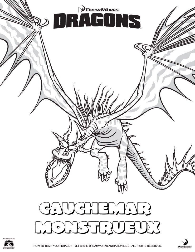 Coloriage cauchemar monstrueux coloriage train coloring pages how train your dragon et - Coloriage dragon 2 ...