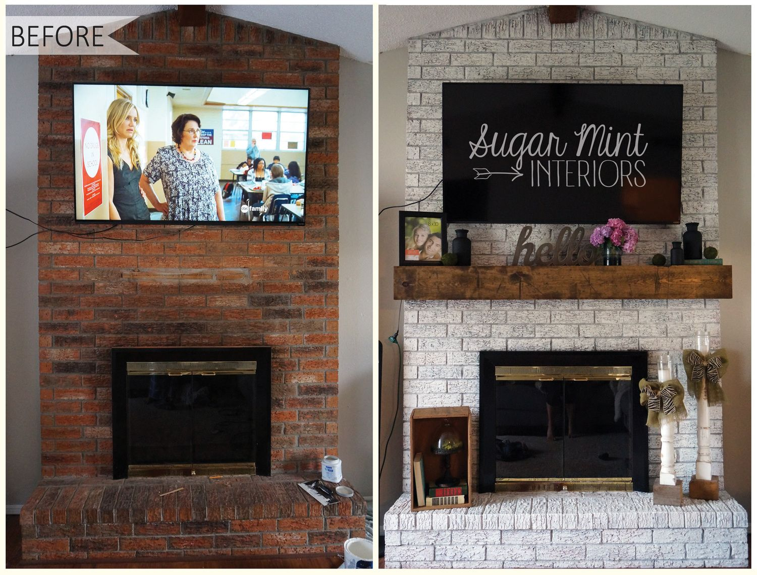 Diy White Washed Fireplace Makeover Sugar Mint Co Fireplace Makeover Pinterest White