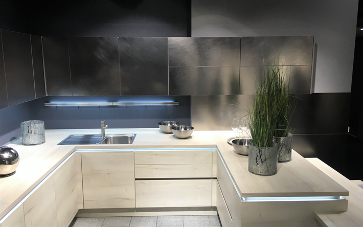 Descargar fondos de pantalla 4k, cocina, apartamento moderno, de ...