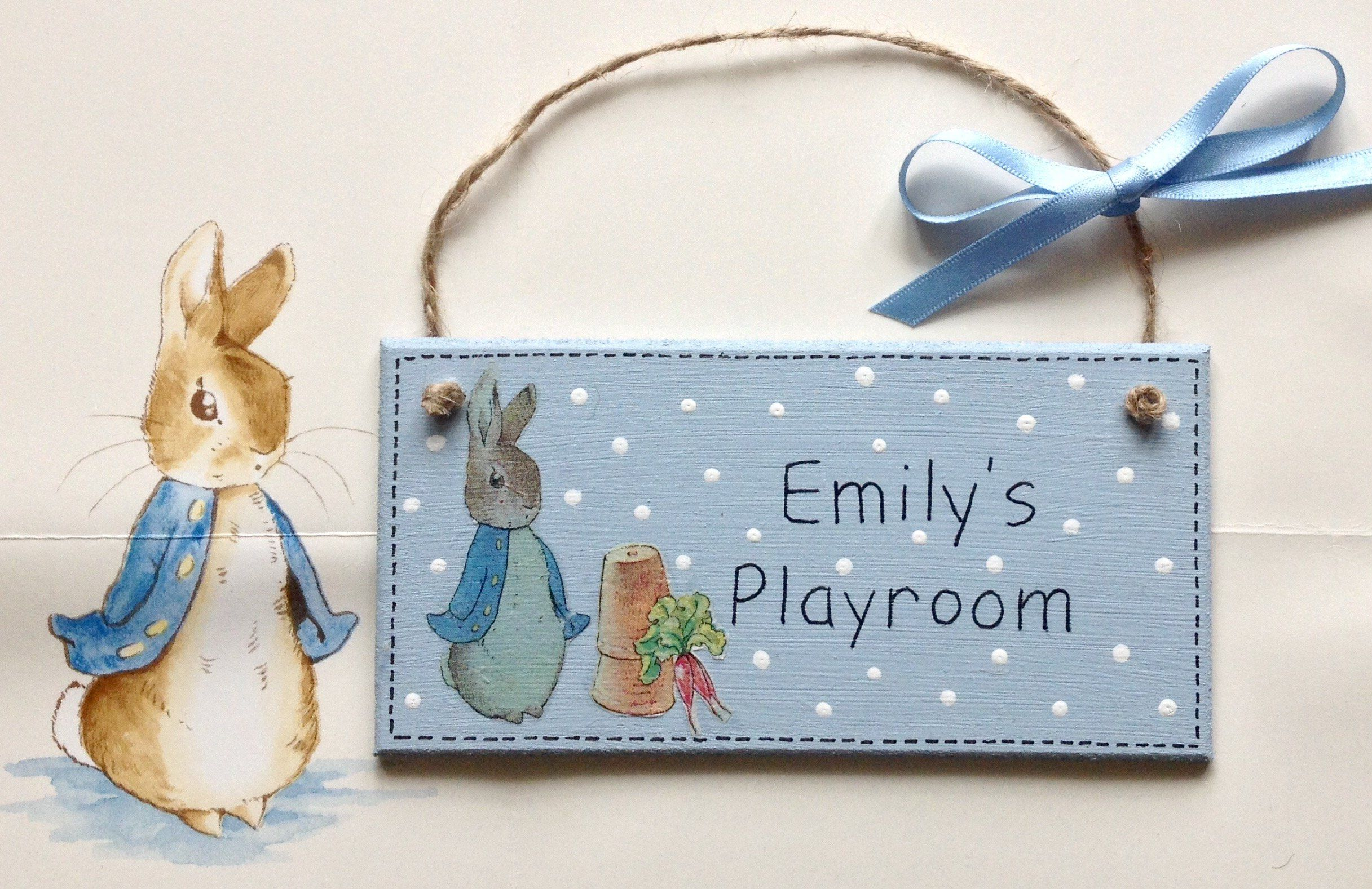 Personalised Handpainted and Decoupaged Beatrix Potter Peter