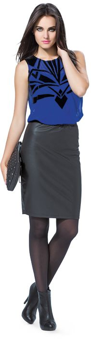 Ignite Platinum Flocked Tank & Pleather Skirt - Flocked Tank  NZD $44.99. Pleather Skirt NZD $44.99