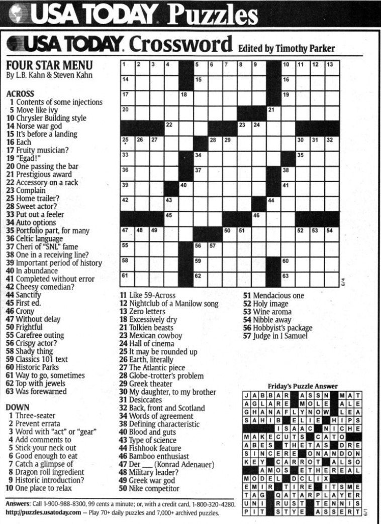 Usa Today Printable Crossword Freepsychiclovereadings In Usa Today