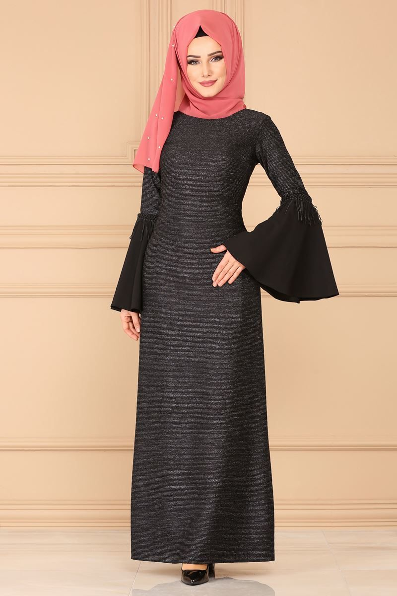 Modaselvim Elbise Volan Kol Simli Elbise 4249bs198 Siyah Islamic Dress Hijab Fashionista Dresses