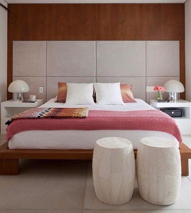 Quarto feminino, painel Madeira e cabeceira couro gelo I - modernes schlafzimmer interieur reise