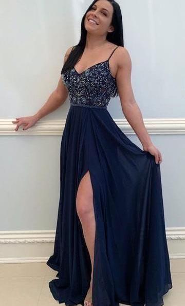 Spaghetti Straps Navy Long Prom Dresses with Beaded #bluepromdresses