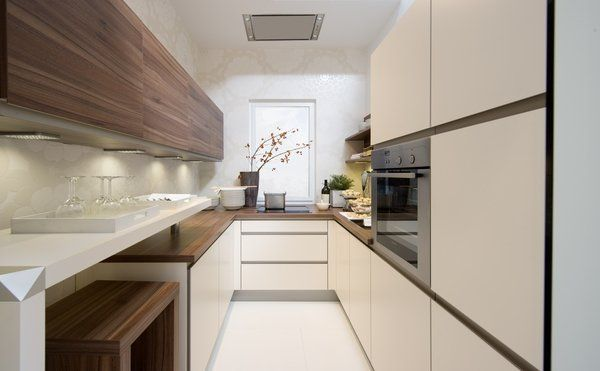 Contemporary Galley Kitchen Ideas White Minimalist Cabinets Wood Countertops
