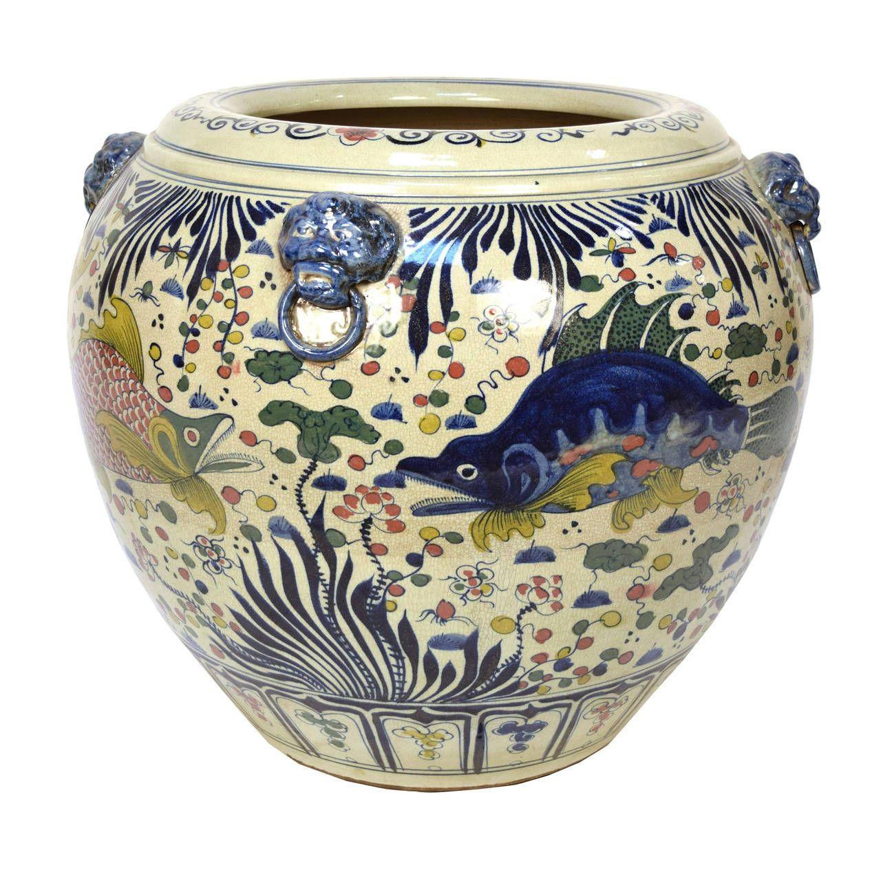 "Vintage ""Wucai"" or five color-ware porcelain pot from"