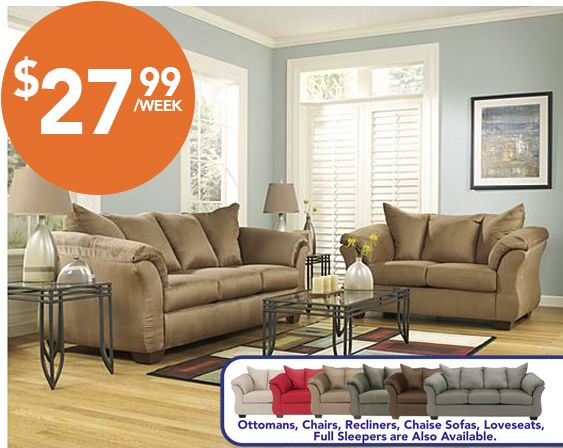 Living Room Furniture Rent To Own majik rent-to-own ashley darcy sofa & loveseat, id:7500 | living