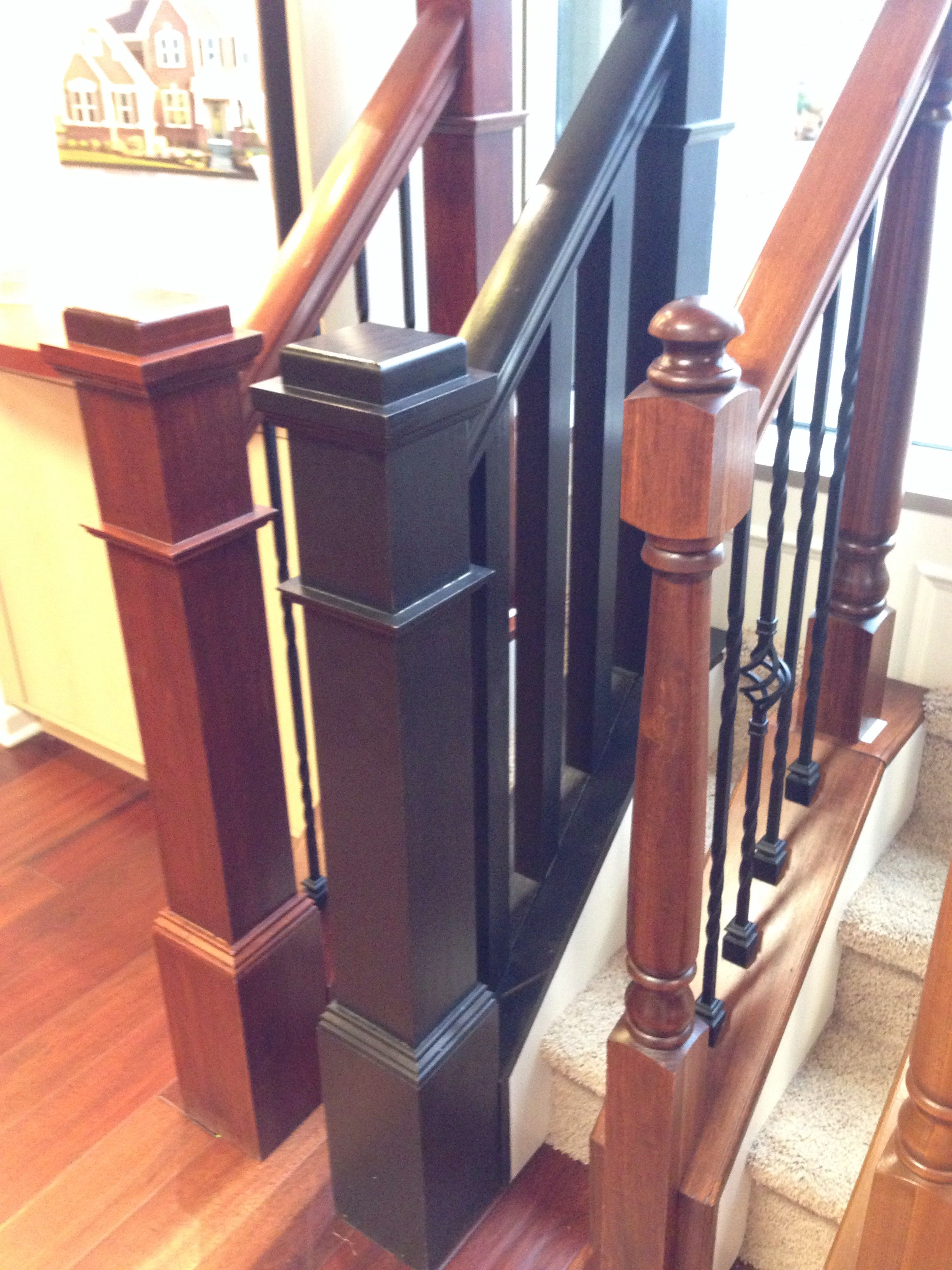 Middle Stair Railing Box Newel Posts In Sarsaparilla Stain Staircase Makeover Stair Posts Interior Design Living Room