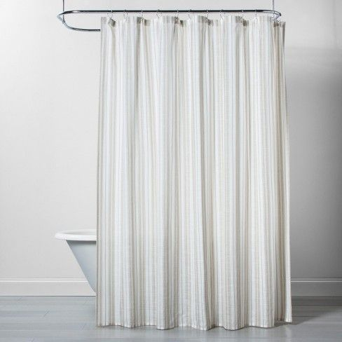 Linen Stripe Shower Curtain Natural White Threshold Striped