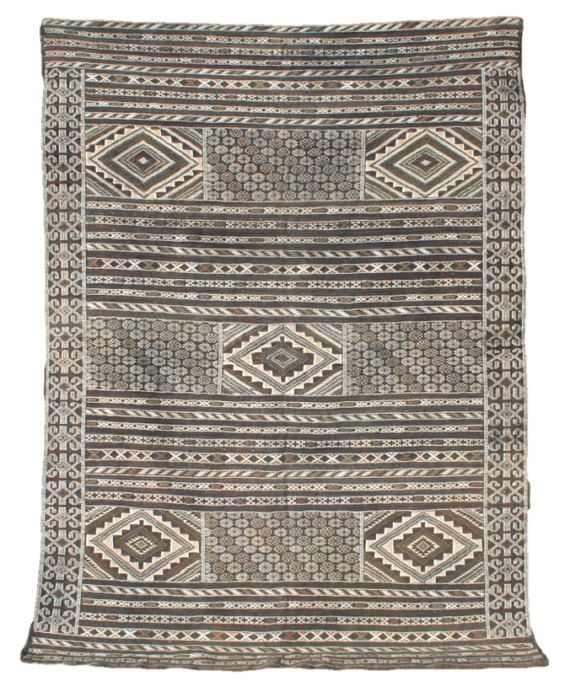 Art Kilim Wool Rug: Black And White Rug, Kilim Rug, Wall Tapestry, Moroccan