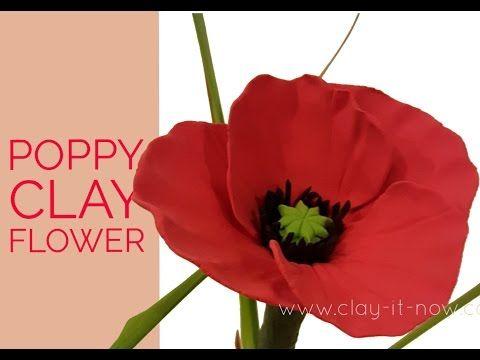 Easy clay poppy flower tutorial youtube polymer clay pinterest easy clay poppy flower tutorial youtube mightylinksfo
