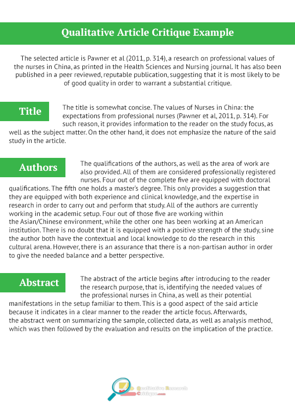 pin by qualitative critique samples on qualitative article critique example
