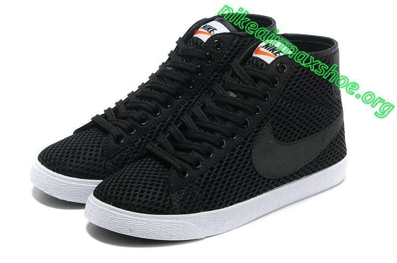 nike blazer mid mesh black high top trainers boys