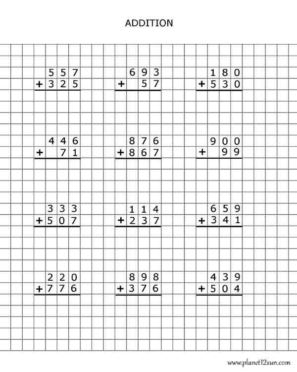 Addition- graph paper | 3rd, 4th Grade Math + Worksheets | Pinterest