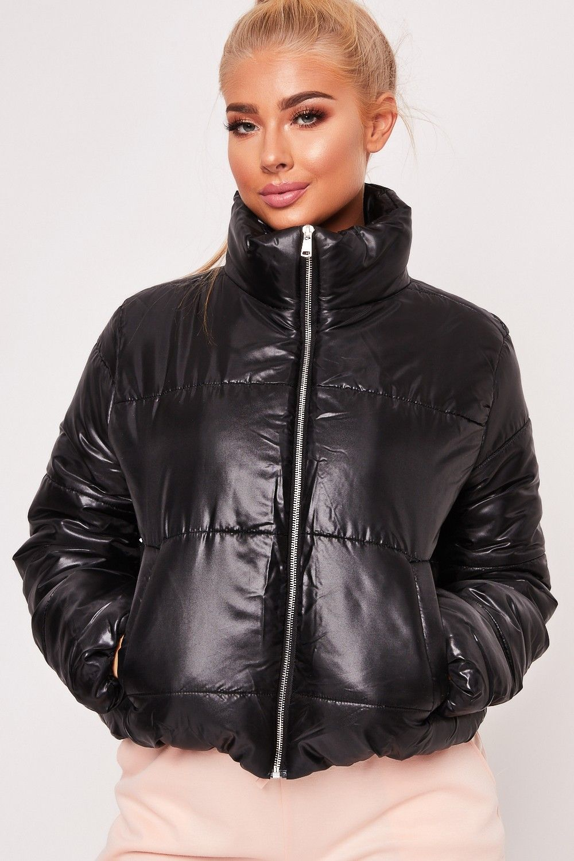 Ruby Black Cropped Puffer Jacket Jackets Puffer Jacket Women Puffer Coat Style [ 1500 x 1000 Pixel ]