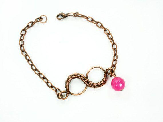 Infinity Symbol Pink Chain Bracelet By Margojewelryhandmade Wire
