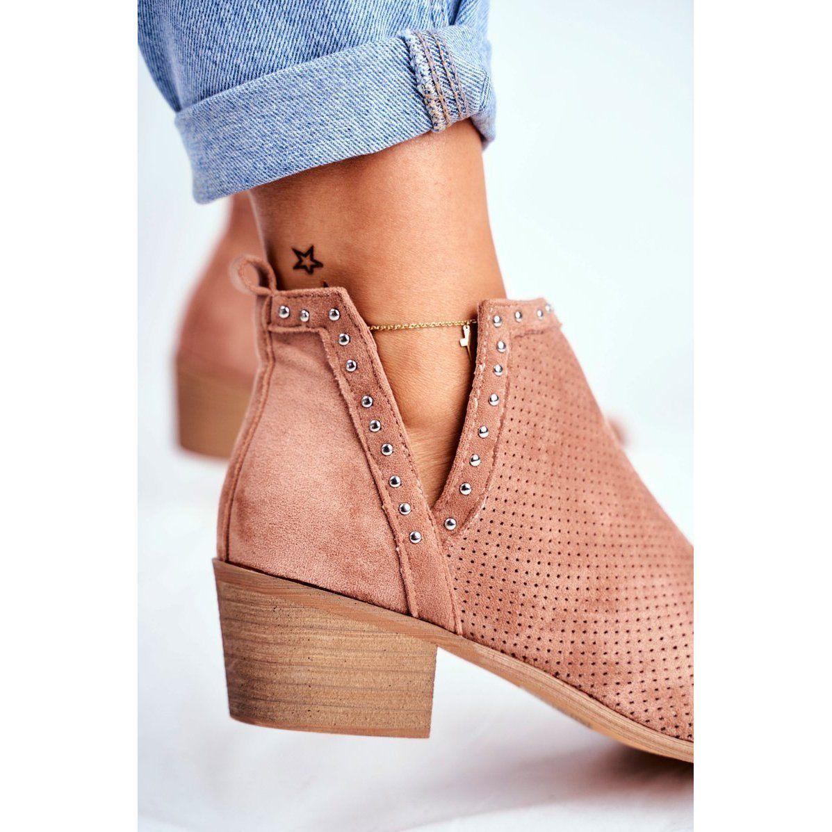 Bellucci Botki Damskie Na Slupku Zamszowe Azurowe Rozowe Margate Fashion Shoes Heeled Mules