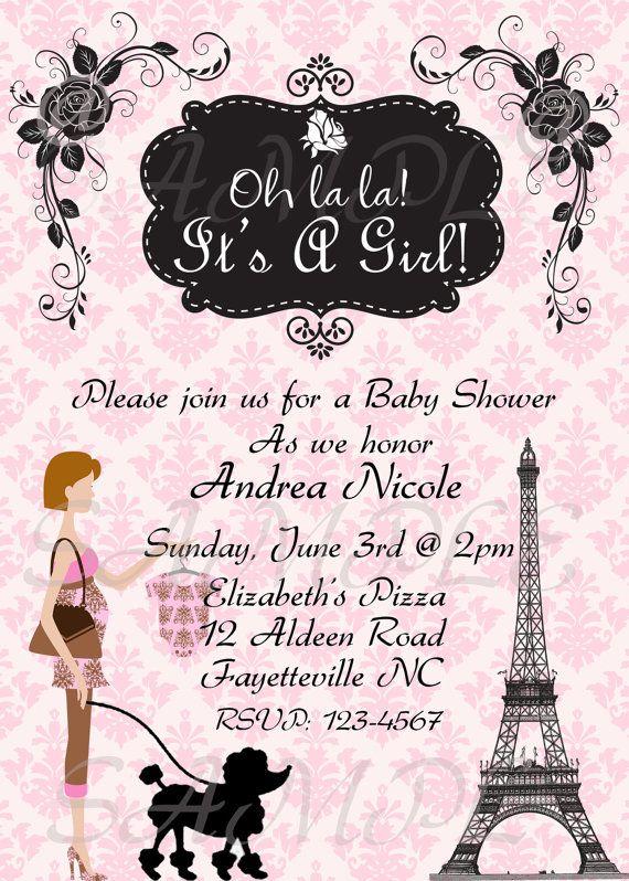 Paris Baby Shower Invitation by topAcake on Etsy, $10.00