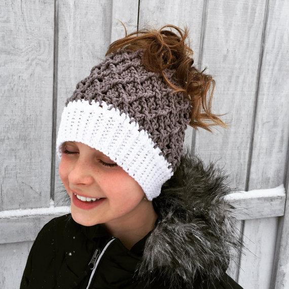 Crochet Beanie Messy Bun Ponytail Hat