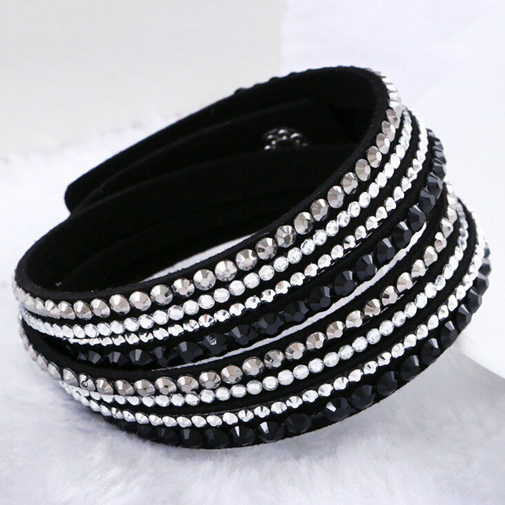 New Fashion Leather Wrap Wristband Cuff Punk Crystal Rhinestone Bracelet Bangle
