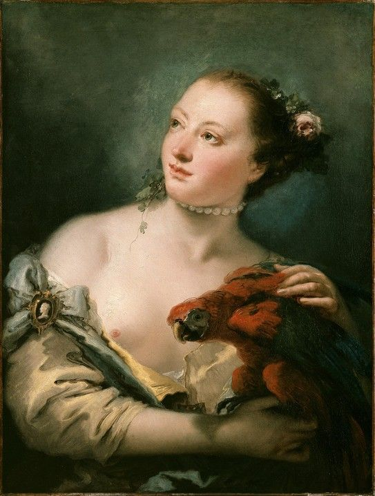 Young Woman with a Macaw by Giovanni Battista Tiepolo, 1760