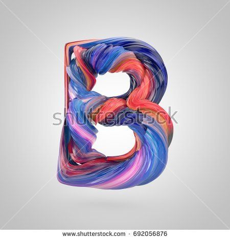 Oil paint letter B uppercase  3D render font drawn with oil paint