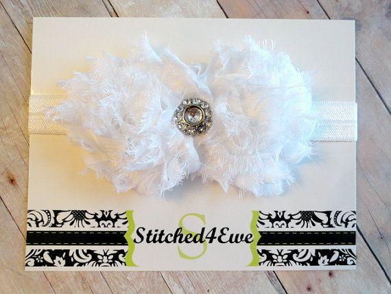 White Baby Headband Baptism Headband Double Shabby by Stitched4Ewe, $7.50