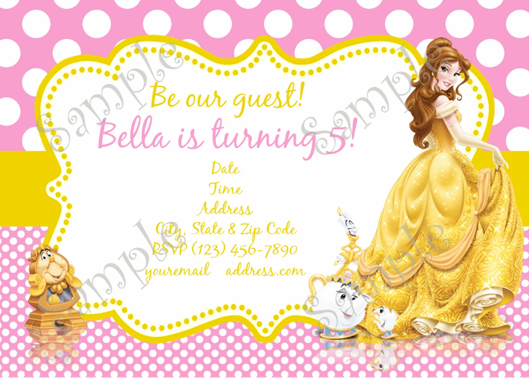 Belle Invitation, Belle Party, Belle Birthday party Invitation ...