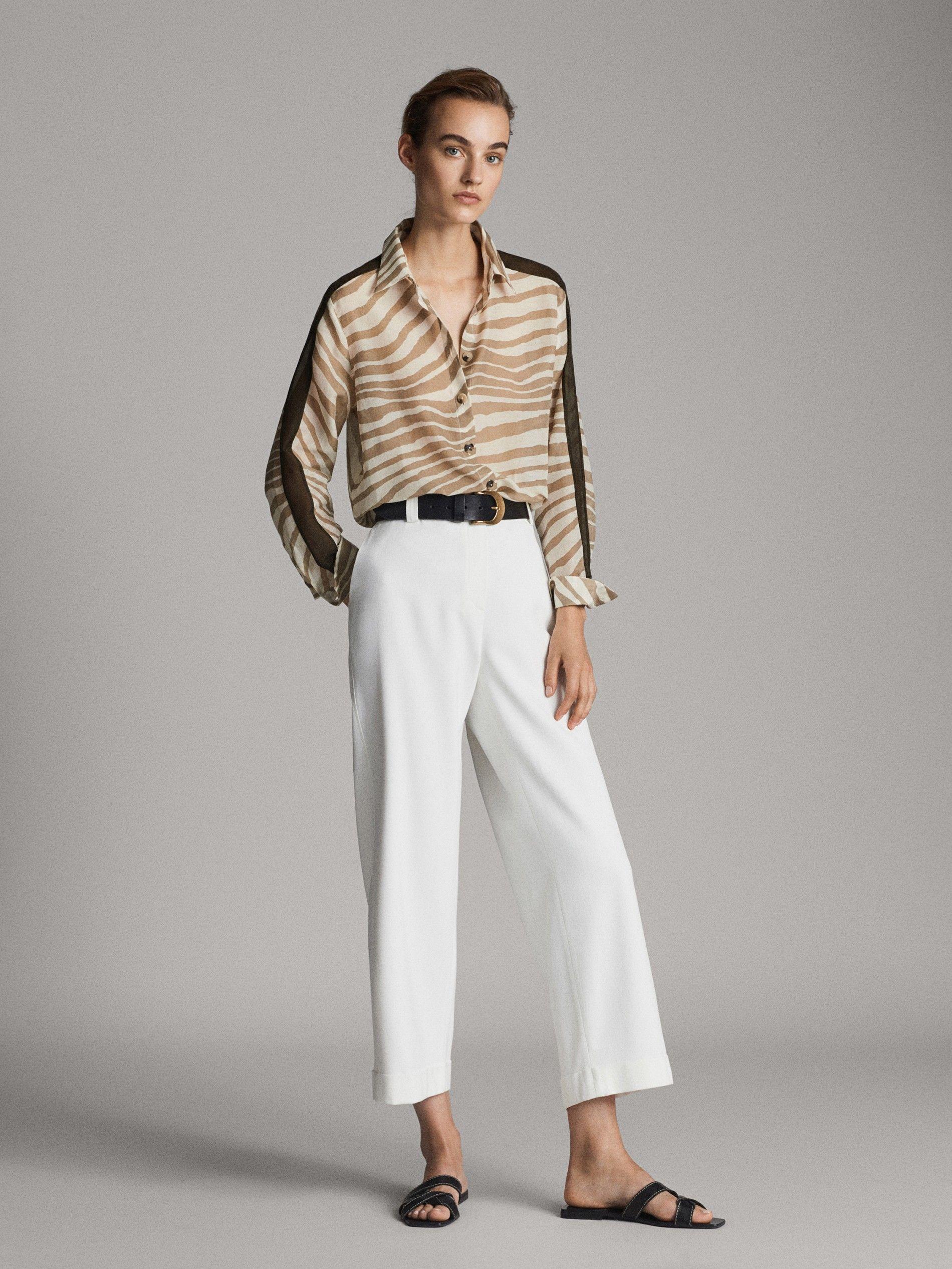 Cotton And Silk Zebra Print Shirt With Sleeve Taping Women Massimo Dutti Printed Shirts Current Fashion Trends Massimo Dutti Women