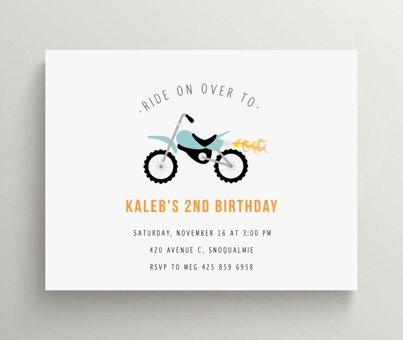 Motorcycle birthday invitation, motorcycle baby shower invitation ...