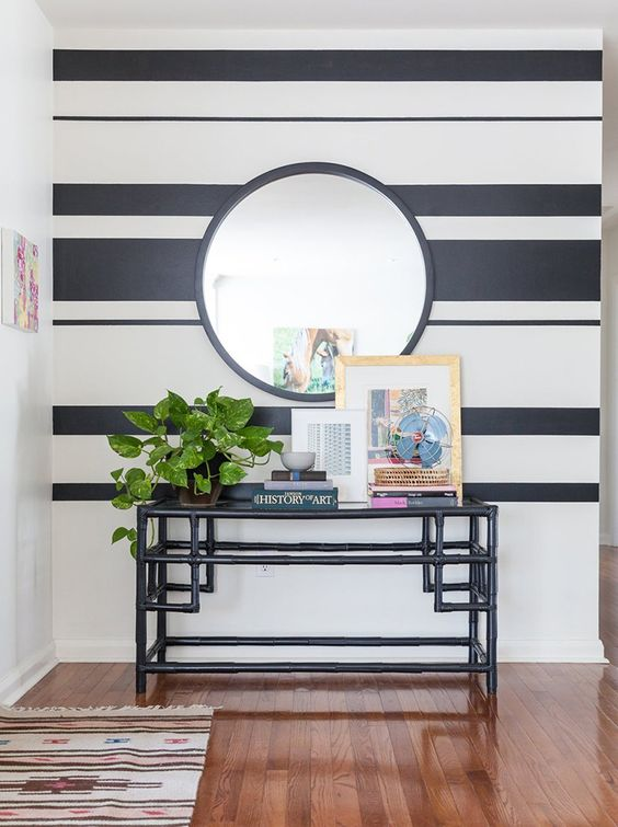 45 Creative Wall Paint Ideas And Designs Renoguide Australian Renovation Ideas And Inspiration Painting Stripes On Walls Striped Walls Wallpaper Living Room Accent Wall
